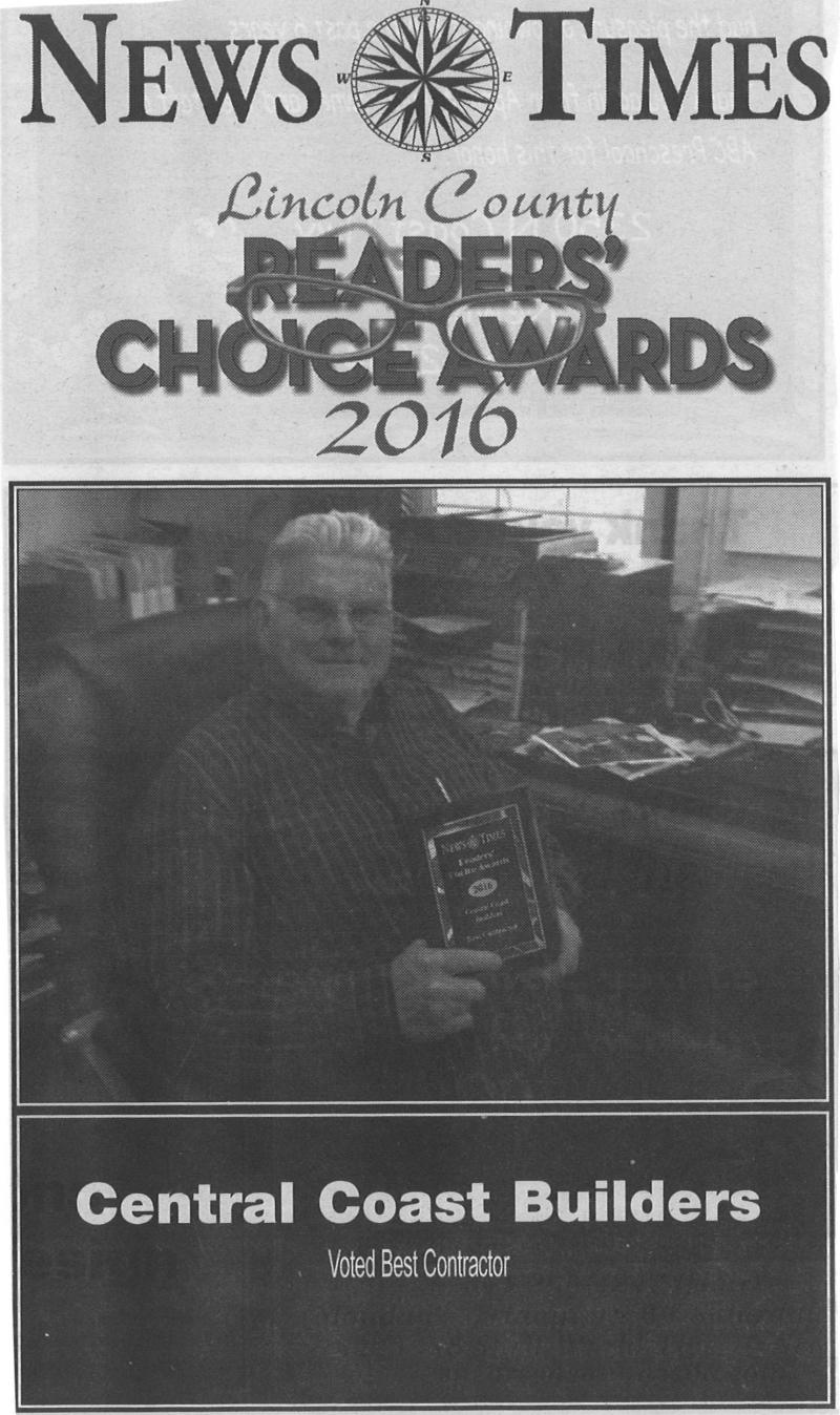 News Times Lincoln County Readers' Choice Award for Best Contractor